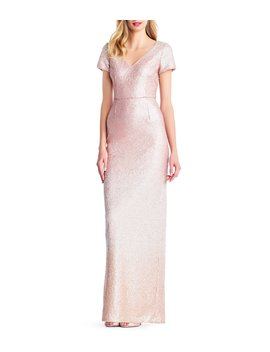 V Neck Ombre Metallic Sequin Gown by Adrianna Papell
