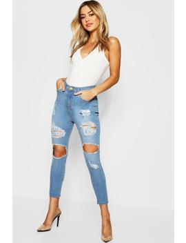 Petite One Button Distressed High Rise Skinny Jean by Boohoo