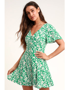 Magnolia Green Floral Print Button Front Mini Dress by Lulus