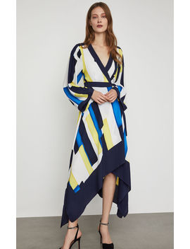 Colorblocked Handkerchief Wrap Dress by Bcbgmaxazria