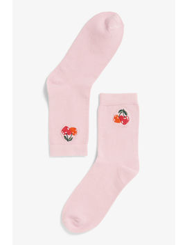 Cherry Embroidery Socks by Monki