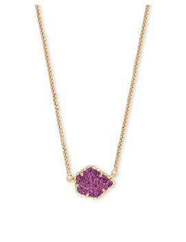 Tess Gold Pendant Necklace In Amethyst Drusy by Kendra Scott