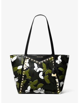 Whitney Large Butterfly Camo Leather Tote by Michael Michael Kors