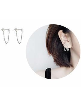 Tiny Ball Earrings With Chain Dangle Earrings 925 Sterling Silver Stud Earrings by Amkaka