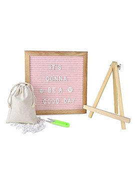 Olis Choice Changeable Pink Felt Letter Board 10x10 Inch With 340 Letters, Tripod Stand, Scissors & Canvas Bag   Message Sign Board With Emoji, Alphabet, Numbers   Oak Message Board, Marquee Sign By by Olis Choice
