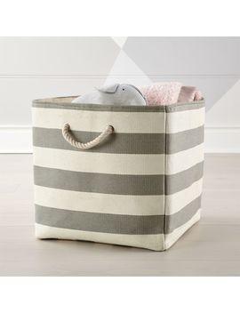 Stripes Around Grey Floor Bin by Crate&Barrel
