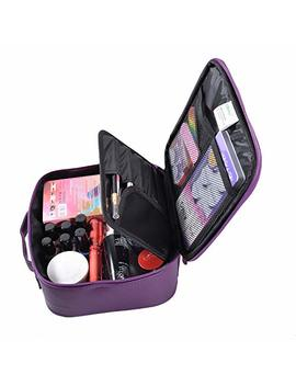 "Ollieroo Makeup Train Case Professional 9.8"" Travel Makeup Cosmetic Artist Organizer With Detachable Board For Cosmetics Makeup Brushes Dark Purple by Ollieroo"