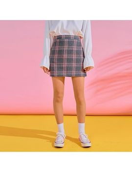 Icecream12   Band Waist Plaid Mini Skirt by Icecream12