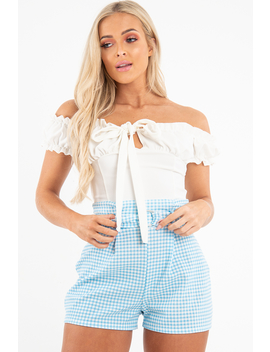 Cream Ruffle Tie Front Bardot Crop Top   Pandora by Rebellious Fashion