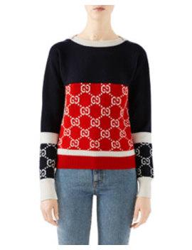 Colorblock Logo Jacquard Sweater by Gucci