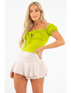 Lime Ruffle Tie Front Bardot Crop Top   Pandora by Rebellious Fashion