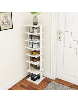 Costway Wooden Shoes Storage Stand 7 Tiers Shoe Rack Organizer Multi Shoe Rack Shoebox by Costway