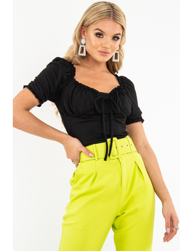 Black Bow Front Ruched Detail Top   Charlie by Rebellious Fashion