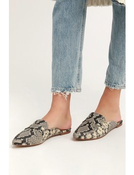 Flavor Natural Snake Print Loafer Slides by Steve Madden
