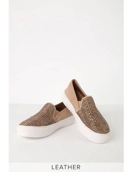 Gaige Cognac Multi Suede Leather Flatform Sneakers by Steven