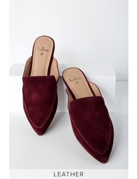 Joelle Leather Burgundy Suede Loafer Slides by Lulus