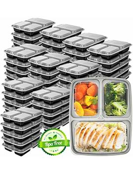 Meal Prep Containers 3 Compartment [45 Pack]   Food Prep Containers Bento Box Bpa Free Food Storage Containers With Lids   Lunch Containers Food Containers   Reusable Meal Prep Containers Reusable by Prep Naturals