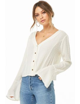 Clip Dot Trumpet Sleeve Top by Forever 21