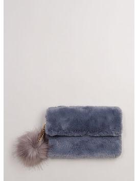 Pom Pom Reader Faux Fur Clutch by Go Jane