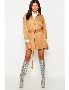 Suedette Pocket Belted Blazer Dress by Boohoo
