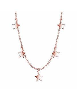 Sterling Silver Dangling Stars Choker Necklace by Lemondrop