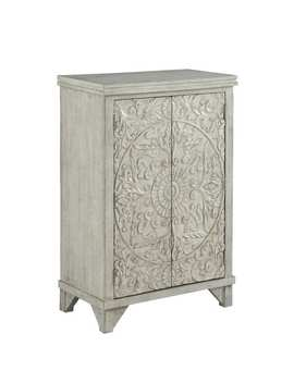"""29""""Rustic White Accent Cabinet With Two Floral Pattern Door by Infurniture"""