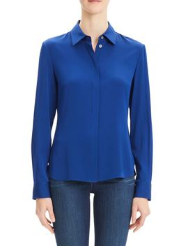 Classic Fitted Stretch Silk Shirt by Theory