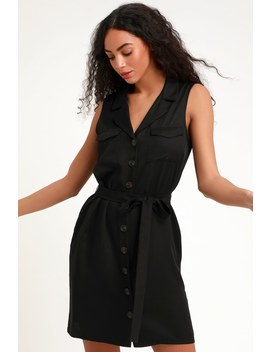 Tenino Black Sleeveless Button Up Shirt Dress by Lulus