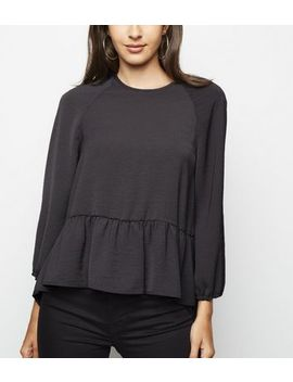 Dark Grey 3/4 Sleeve Peplum Blouse by New Look