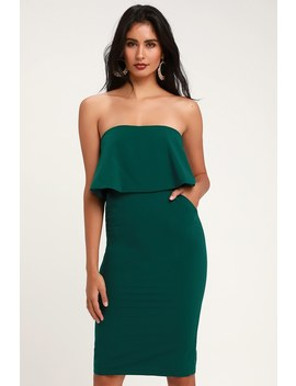 Lots Of Love Emerald Green Strapless Midi Dress by Lulus