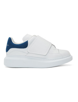 White & Blue Flap Tab Oversized Sneakers by Alexander Mcqueen