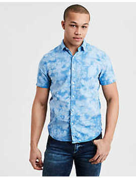 Ae Short Sleeve Tie Dye Poplin Button Down Shirt by American Eagle Outfitters