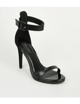 Black Suedette And Faux Croc Stiletto Sandals by New Look