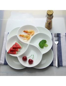 Flower White Plate Kitchen Plates Serving Platters Snack Tray Dessert Plate by Ali Express