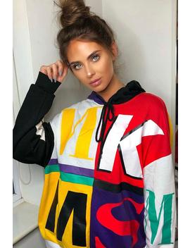 Multi Slogan Print Colour Block Hoodie   Athira by Rebellious Fashion