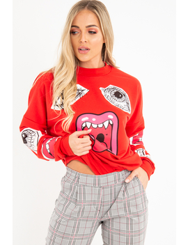 Red Eyes Lips Printed Sweatshirt   Beckie by Rebellious Fashion