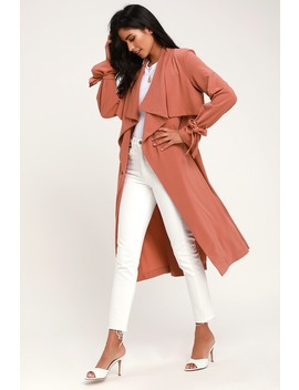 Charlotte Mauve Long Sleeve Trench Coat by Lulus