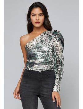 Jeweled One Shoulder Top by Bebe