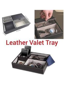 New Leather Valet Tray Black 5 Compartments Nightstand Desk Dresser Organizer by Unbranded