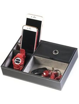Huji Black Leatherette Valet Jewelry Tray Display Showcase by Huji