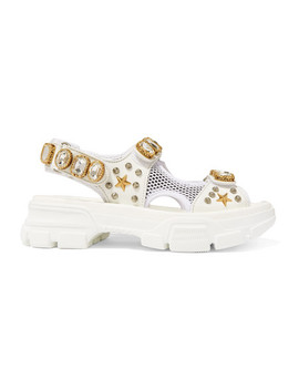 Aguru Embellished Leather And Mesh Sandals by Gucci