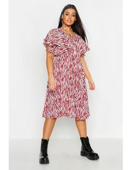 Plus Zebra Print Bolo Tie Angel Sleeve Midi Dress by Boohoo
