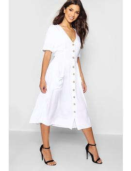 Button Front Pocket Detail Midi Dress by Boohoo