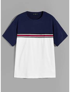 Guys Color Block Striped Top by Romwe