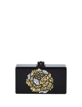 Jean Metallic Flower Acrylic Clutch Bag, Obsidian Sand by Edie Parker