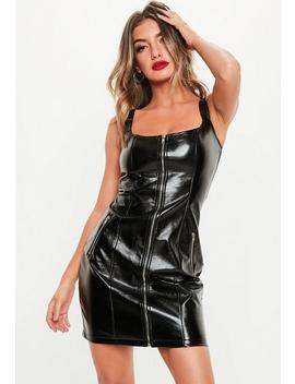 Black Faux Leather Zip Front Mini Dress by Missguided