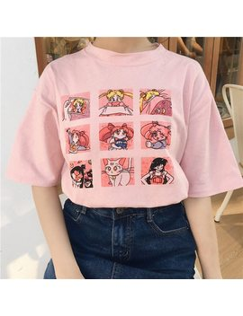 Summer Women's Fashion Large Size Casual Harajuku Cartoon Letters Ulzzang Sailor Moon Short Sleeve Funny Half T Shirt by Zsiibo