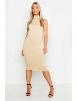 Plus Ribbed High Neck Sleevless Midi Dress by Boohoo