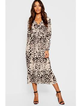 Leopard Print Long Sleeved Bodycon Midi Dress by Boohoo