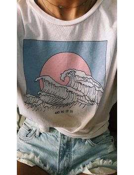 Hahayule And So It Is Ocean Wave Aesthetic T Shirt Women Tumblr 90s Fashion White Tee Cute Summer Tops by Ali Express